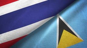 Tajlandia Lucia i święty dwa flagi tekstylny płótno, tkaniny tekstura royalty ilustracja