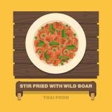 Tajlandia obywatela naczynia, fertanie smażyli z dzikiego knura Czerwonym currym Obraz Royalty Free