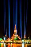 Tajlandia odliczanie 2016 iluminacja przy Watem Arun Ratchawararam Ratchawaramahawihan Zdjęcia Stock