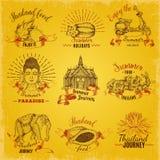 Tajlandia podróży etykietki Ustawiać ilustracja wektor