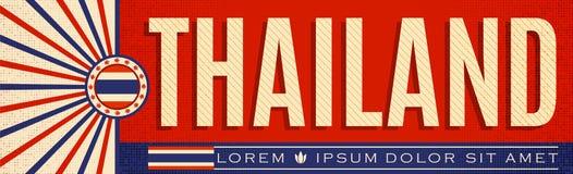 Tajlandia rocznika sztandaru patriotyczny projekt, typograficzna wektorowa ilustracja ilustracji