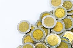 Tajlandia ` s monety 10 baht na białym tle Zdjęcie Stock