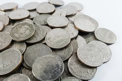 Tajlandia ` s monety 5 baht na białym tle Zdjęcie Stock