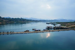 Tajlandia Sangkhlaburi drewniany most Fotografia Stock