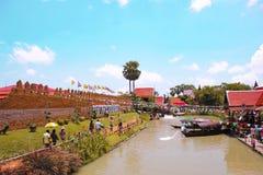Tajlandia Spławowy rynek w Ayutthaya Zdjęcia Royalty Free