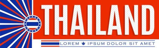 Tajlandia sztandaru patriotyczny projekt, typograficzna wektorowa ilustracja, Tajlandzka flaga barwi ilustracji
