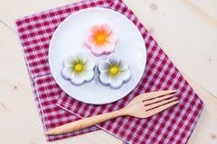 Tajlandia tradycja, kwiatu koksu Deserowa galareta Zdjęcie Stock