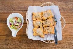 Tajlandia wieprzowiny babeczek jedzenie smażyć zakąski, przekąski, Smażyli wieprzowin babeczki Zdjęcie Royalty Free