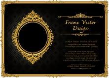 Tajlandia złota Królewska rama na kaczora wzoru tle, rocznik fotografii ramy antyk, projekta wzór ilustracja wektor