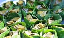 Tajlandzcy desery z bananowym liściem Obrazy Stock