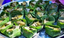 Tajlandzcy desery z bananowym liściem Zdjęcia Royalty Free