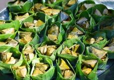 Tajlandzcy desery z bananowym liściem Obraz Royalty Free
