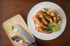 Tajlandzcy Foods: smażący rockowy homar z chili, czosnkiem i Tha, Zdjęcie Stock