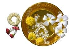 Tajlandzcy girlanda kwiaty, woda z jaśminem i fotografia stock