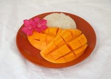 Tajlandzcy mangowi kleiści ryż w Brown naczyniu na białym tle obrazy stock