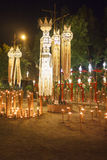 Tajlandzcy północni lampiony w Peng festiwalu przy świątynią Fotografia Royalty Free