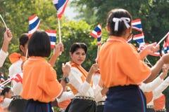 Tajlandzcy ucznie uczestniczy ceremonię 100th aniversary Zdjęcia Stock