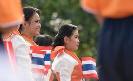 Tajlandzcy ucznie uczestniczy ceremonię 100th aniversary Zdjęcie Stock