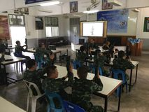 Tajlandzcy wojsko żołnierze trenujący używać pistolety Obrazy Stock