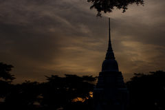 Tajlandzka świątynia przy nocą Obraz Stock