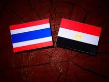 Tajlandzka flaga z egipcjanin flaga na drzewnym fiszorku Zdjęcia Stock