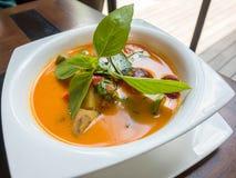 Tajlandzka kaczka curry'ego polewka w białym pucharze, Zdjęcie Stock