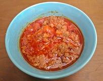 Tajlandzka Karmowa zakąska, Nam Prik Aong, Tajlandzka Północna Stylowa wieprzowina i Pomidorowy delicje, fotografia royalty free