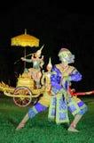 Tajlandzka klasyczna zamaskowana sztuka przy Phimai Dziejowym parkiem, Tajlandia Fotografia Royalty Free