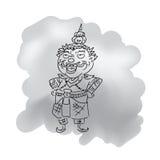 Tajlandzka legendarna gigantyczna królewiątko kreskówka rysuje 1 Zdjęcie Royalty Free