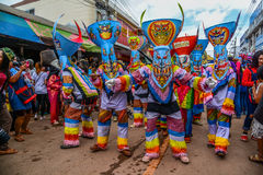 Tajlandzka northeastern tradycyjna Phi Ta Khon ducha Festiwval parada Obraz Royalty Free