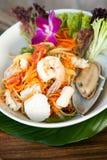 Tajlandzka owoce morza Som Tum sałatka Zdjęcia Stock