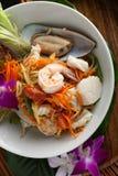 Tajlandzka owoce morza Som Tum sałatka Zdjęcia Royalty Free