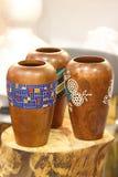 Tajlandzka rękodzieła drewna waza Fotografia Royalty Free