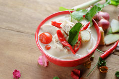 Tajlandzka stylowa kokosowego mleka polewka Obrazy Stock