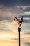 Tajlandzka tradycyjna piękna złota łabędzia lampa na ulicie przy twiligh obraz stock