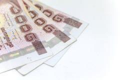 Tajlandzka waluta w tle i odizolowywająca Obrazy Royalty Free