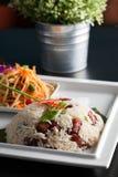 Tajlandzka wieprzowina i Rice z Som Tum Obrazy Stock