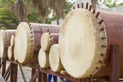 Tajlandzki bębenu instrument muzyczny antykwarski w północy Tajlandia, nazwany Klong Puja lub Puja bębenu lanna set Tylko, Obraz Royalty Free