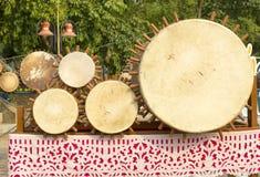 Tajlandzki bębenu instrument muzyczny antykwarski w północy Tajlandia, nazwany Klong Puja lub Puja bębenu lanna set Tylko, Obrazy Royalty Free
