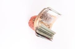 Tajlandzki banknot w portflu odizolowywającym na białym tle obraz royalty free