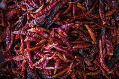 Tajlandzki Czerwony chili pieprzu podział w koszu zdjęcie stock
