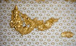 Tajlandzki deseniowy deotration bielu drewno Zdjęcia Stock