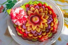 Tajlandzki deserowy warstwa cukierki tort Chan lub Kanom obrazy royalty free