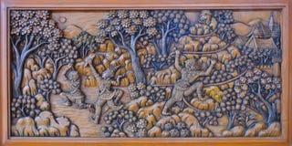 Tajlandzki drewniany cyzelowanie Fotografia Royalty Free