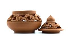 Tajlandzki earthenware w odosobnionym na białym tle Obraz Royalty Free