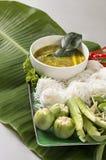 Tajlandzki język jest Kanom Jeen Nam Ya Ryżowi kluski w rybim currym obraz royalty free