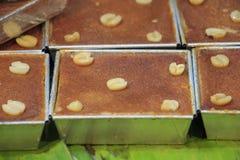 Tajlandzki Jajeczny Custard tort z ziarnem & x28 taro i lotosu; Khan Mo Kaeng& x29; Zdjęcia Royalty Free