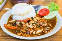 Tajlandzki jedzenie, fertanie podpalał kurczaka z nerkodrzewu dokrętkami Obrazy Royalty Free