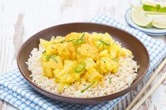 Tajlandzki jedzenie - jarzynowy curry z kalafiorem i ryż na talerzu Obraz Royalty Free