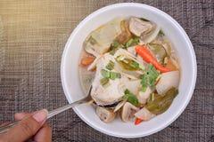 Tajlandzki jedzenie: Korzenna kurczak polewka Zdjęcia Stock